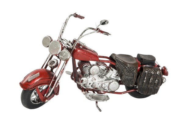 Chopper rosso pelle marrone modellino in latta