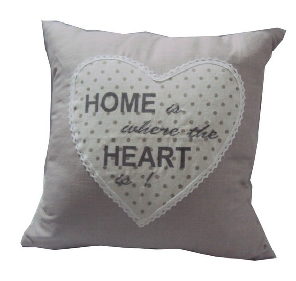 Cuscino tessuto home is where the heart is