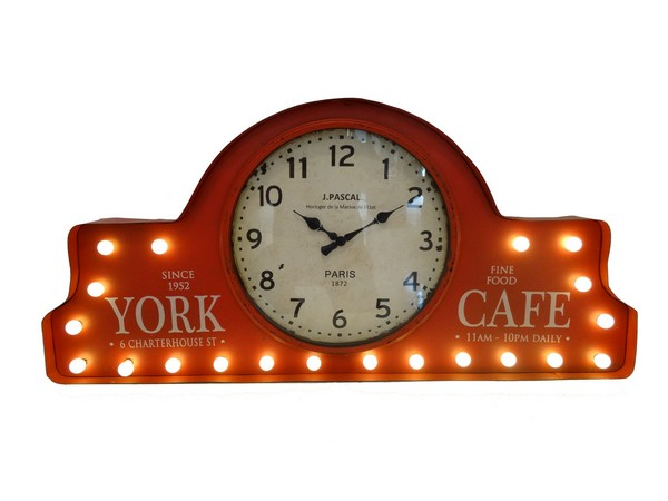 Orologio in metallo con luci led rosso red cafe