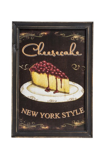 Pannello in legno con cheesecake new york style