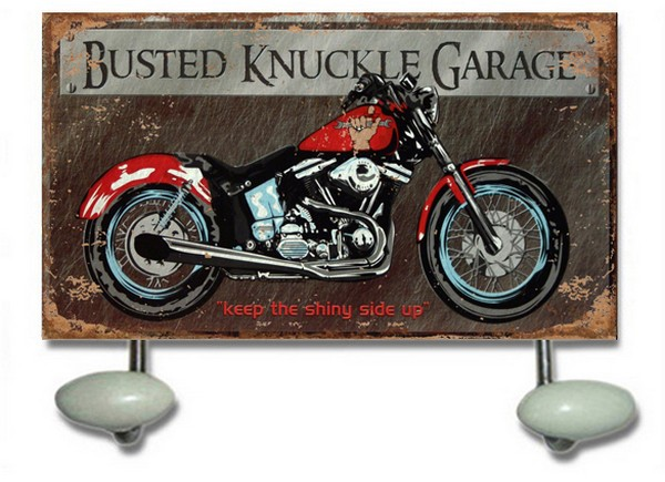 Appendino 2 ganci in metallo moto busted knuckle garage