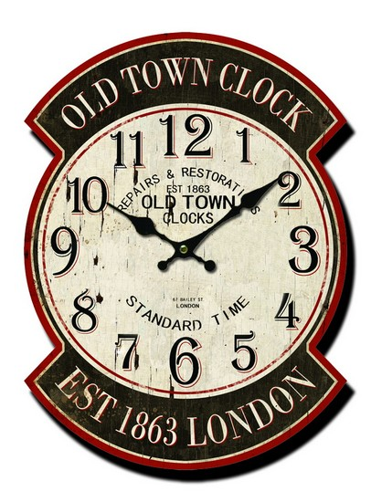 Orologio in legno ovale old town clock est 1863 london