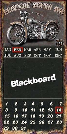 Pannello in metallo calendario moto legends never die lavagna